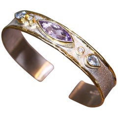 Yianni Creations 5.70 Carat Amethyst Diamond and Topaz Silver and Gold Bracelet