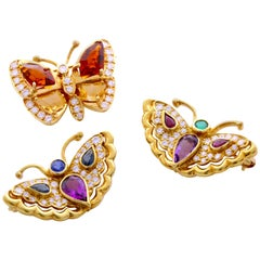 Set of 3, 18 Karat Yellow Gold, Genuine Color Stone, Diamond Butterfly Broaches