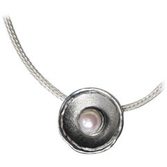 Yianni Creations Fine Silver and Black Rhodium Round Pendant Enhancer with Pearl