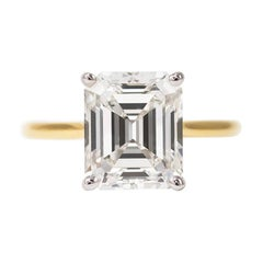 J. Birnbach GIA Certified 3.10 Carat Emerald Cut Diamond Solitaire Ring