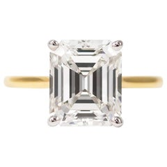 J. Birnbach GIA Certified 3.10 Carat Emerald Cut Diamond Solitaire Ring