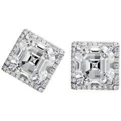 4.25 Carat Asscher Cut Diamond Stud Earrings in 18 Karat White Gold