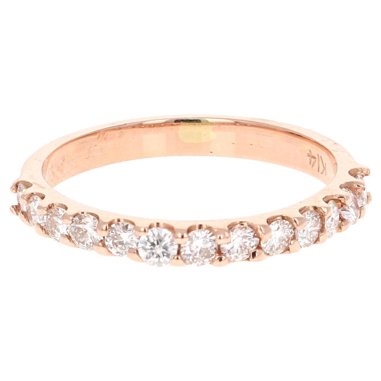 0.51 Carat Round Cut Diamond Band 14 Karat Rose Gold