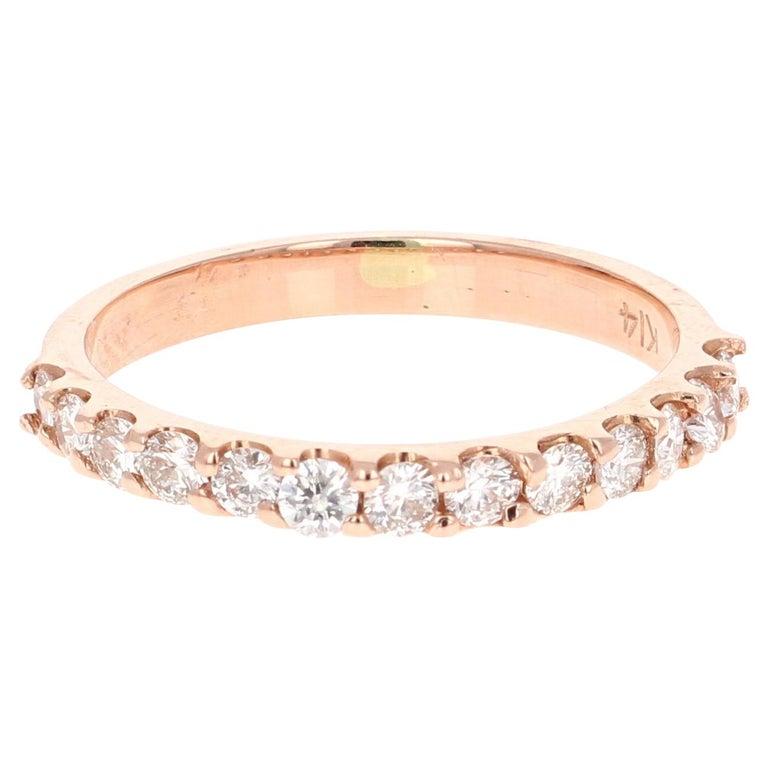 0.51 Carat Round Cut Diamond Band 14 Karat Rose Gold For Sale