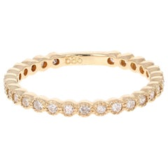 0.40 Carat Round Cut Diamond Band 14 Karat Yellow Gold