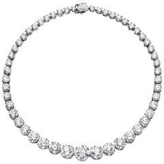 17.88 Carat Round Brilliant Cut Diamond Necklace Choker 18 Karat White Gold