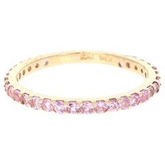 0.92 Carat Round Cut Pink Sapphire Band 14 Karat Yellow Gold