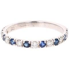 0.76 Carat Round Cut Blue Sapphire Diamond Band 14 Karat White Gold