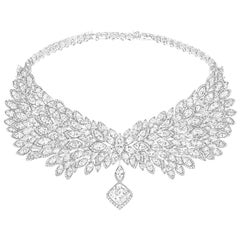 123 Carat Diamond Necklace 18 Karat White Gold