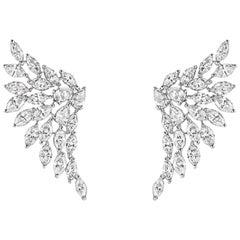 Diamond White Gold Angel Earrings 18 Karat White Gold