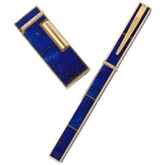 Boucheron Lapis-Lazuli Gold Lighter and Pen Set