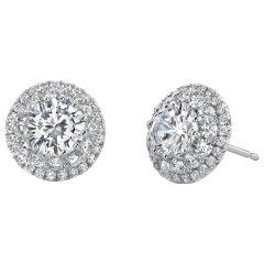 3.50 Carat Round Cut Diamond Doable Halo Earrings 18 Karat White Gold