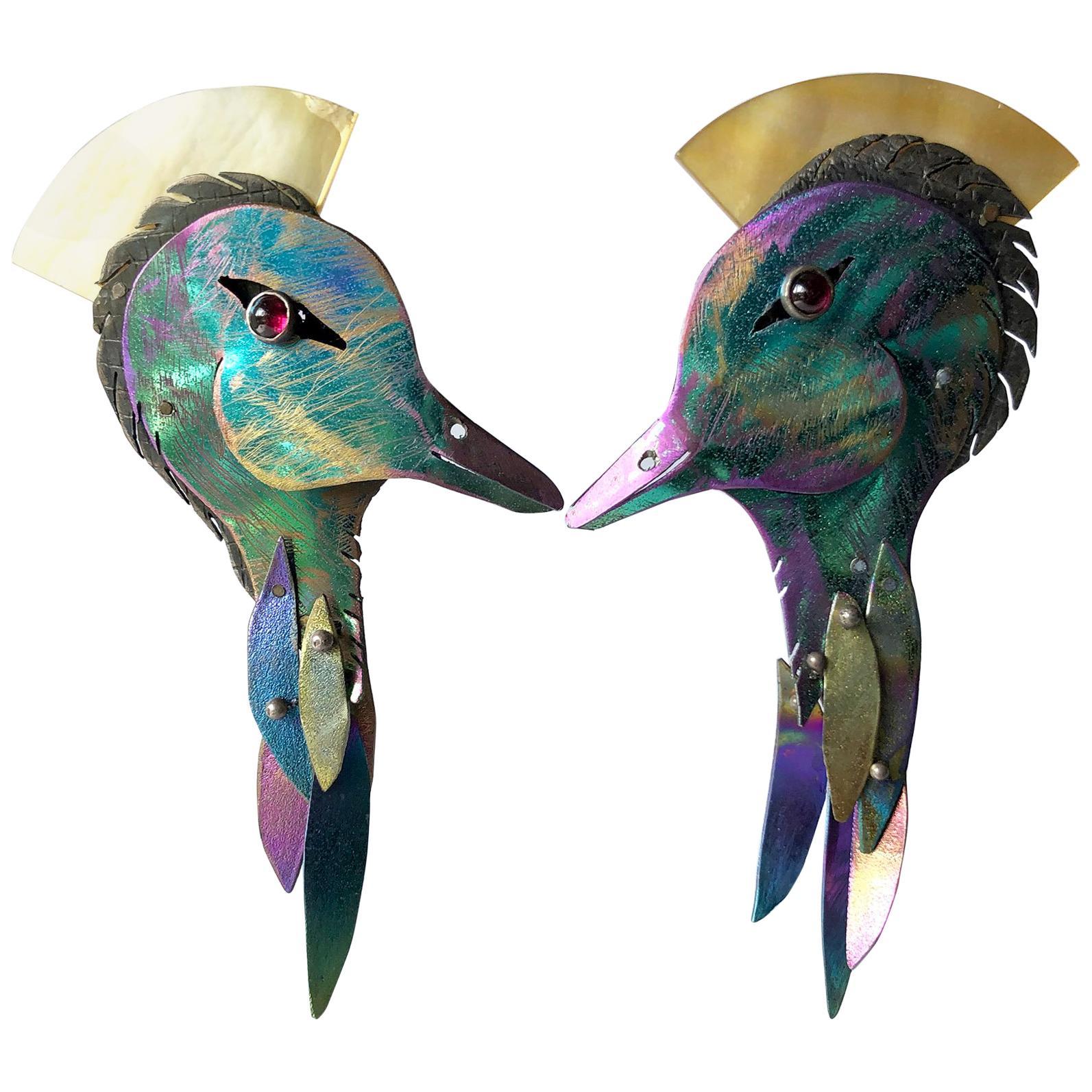 Enid Kaplan Gold Sterling Silver Anodized Niobium Garnets Water Birds Earrings