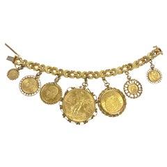 Vintage Mexican Gold Coins Seven Charms Bracelet