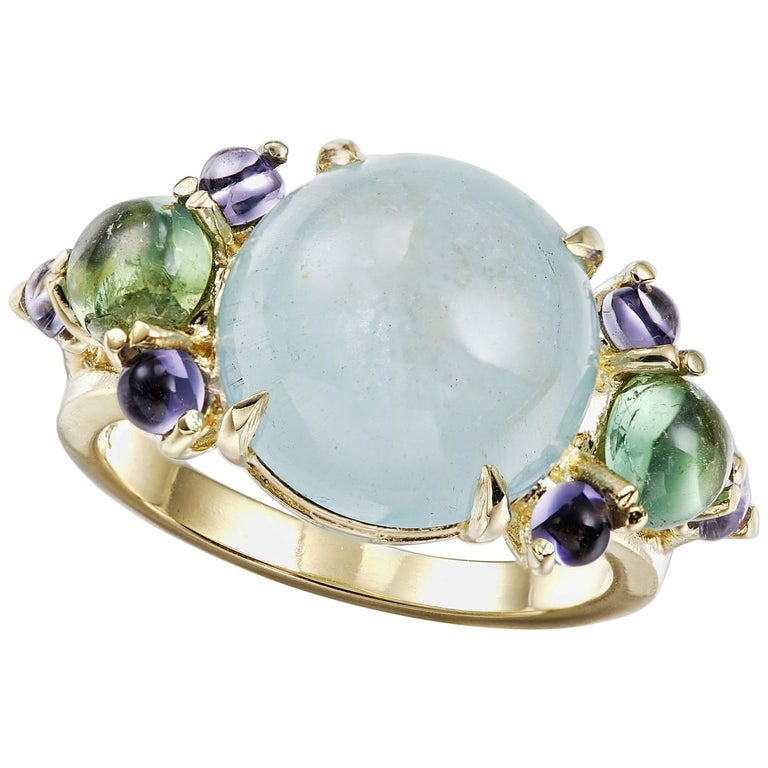 Aquamarine, Tourmaline, and Iolite Cocktail Ring For Sale