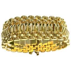 Large Solid Yellow Gold Vintage Bracelet