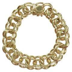 Vintage Chunky Yellow Gold Charm Bracelet