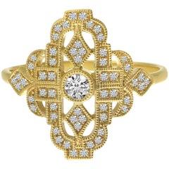 Art Deco Fashion Diamond 18 Karat Yellow Gold Ring