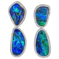 Opal and Diamond Drop Earrings 18 Karat White Gold