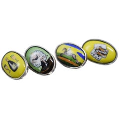Fine Quality 'the Four Vices' Gents Cufflinks in Sterling Silver and Enamel