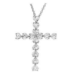 Harry Winston Symbols by HW Heart Shaped Diamond Cross Platinum Pendant Necklace