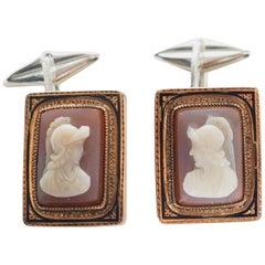 Antiques Victorian Cameo Silver 10 Karat Gold Cufflinks