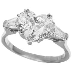 Harry Winston Classic Heart Shaped Diamond PT950 Platinum Solitaire Ring