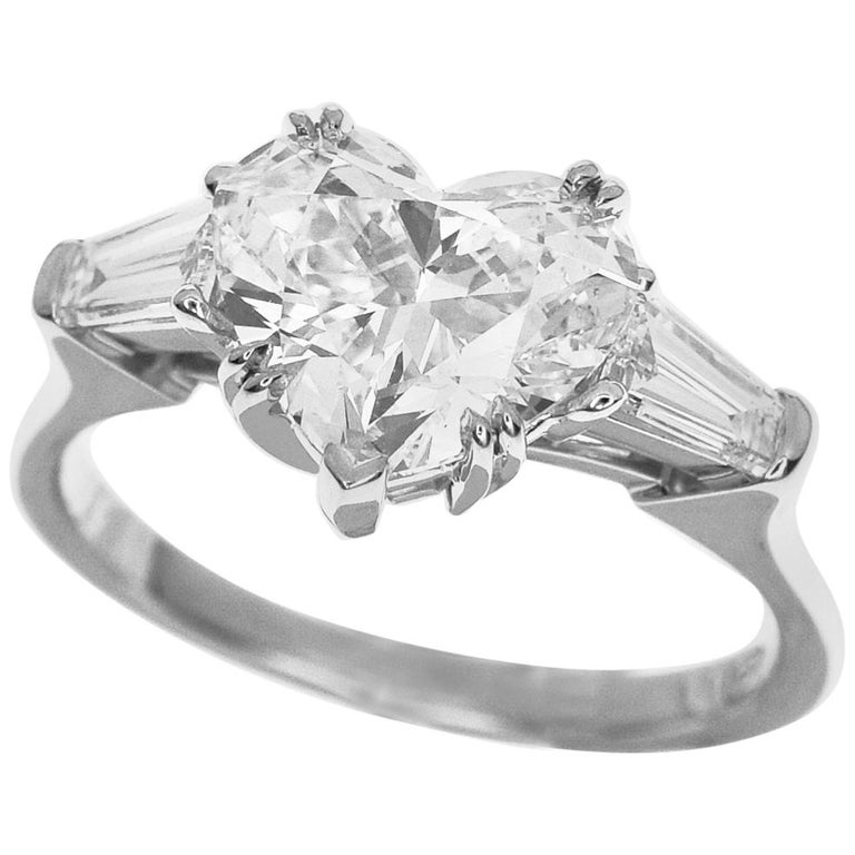 a80c4b308a60c Harry Winston Classic Heart Shaped Diamond PT950 Platinum Solitaire Ring
