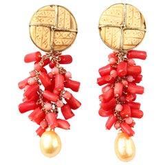 Coral Natural Gold Pearls 18 Karat Gold Dangle Earrings