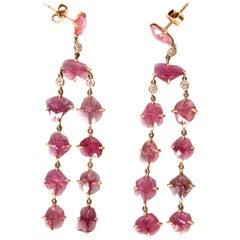 Ruby Diamonds 18 Karat Rose Gold Dangle Chandelier Earrings