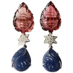Tourmaline Blu Carved Sapphire Diamond 18 Karat White Gold Earrings