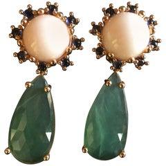 Coral Tanzanite Long Faced Serpentine Drop 18 Karat Gold Dheli Earrings