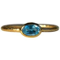 Vintage 14 Karat Gold .70 Carat Aquamarine Bezel Set Stacking Ring