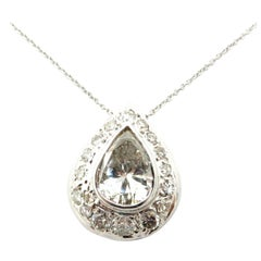 Estate 18 Karat White Gold Diamond Pear and Round Pendant Fashion Necklace