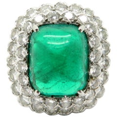 Designer Ruser AGL Certified Platinum Large Emerald and Double Halo Diamond Ring