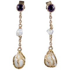 Antique Victorian Amethyst Baroque Pearl Drop Earrings 9 Carat Gold, circa 1900