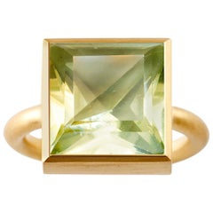 18 Karat Gold Lemon Quartz Green Fluorite Two-Stone Modern Cocktail Ring