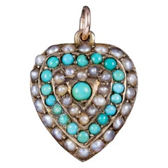 Antique Victorian Turquoise Pearl Heart Pendant Locket 18 Carat Gold, circa 1900