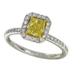 De Beers Aura Fancy Vivid Yellow Solitaire 0.64 Carat Diamond Ring