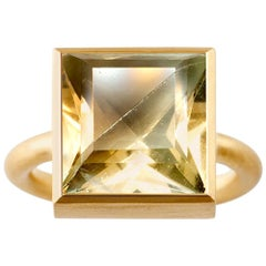 18 Karat Gold Green Fluorite Cognac Quartz Two-Stone Modern Cocktail Ring 14-20