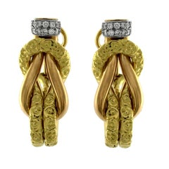 Chiselled Earrings 3 Colors Gold 18 Karat and Diamonds