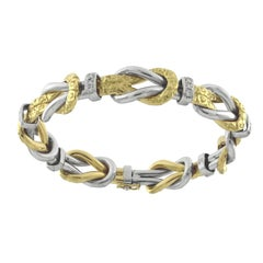 Chiselled Bracelet Yellow and White 18 Karat and Diamonds