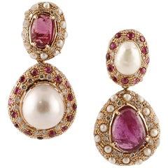 Baroque Pearls, Rubies, Diamonds, 14 Karat Rose Gold Retro Dangle Earrings