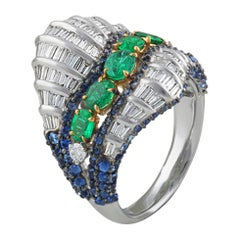 Studio Rêves Baguette Diamond with Emerald and Blue Sapphire Wave Cocktail Ring