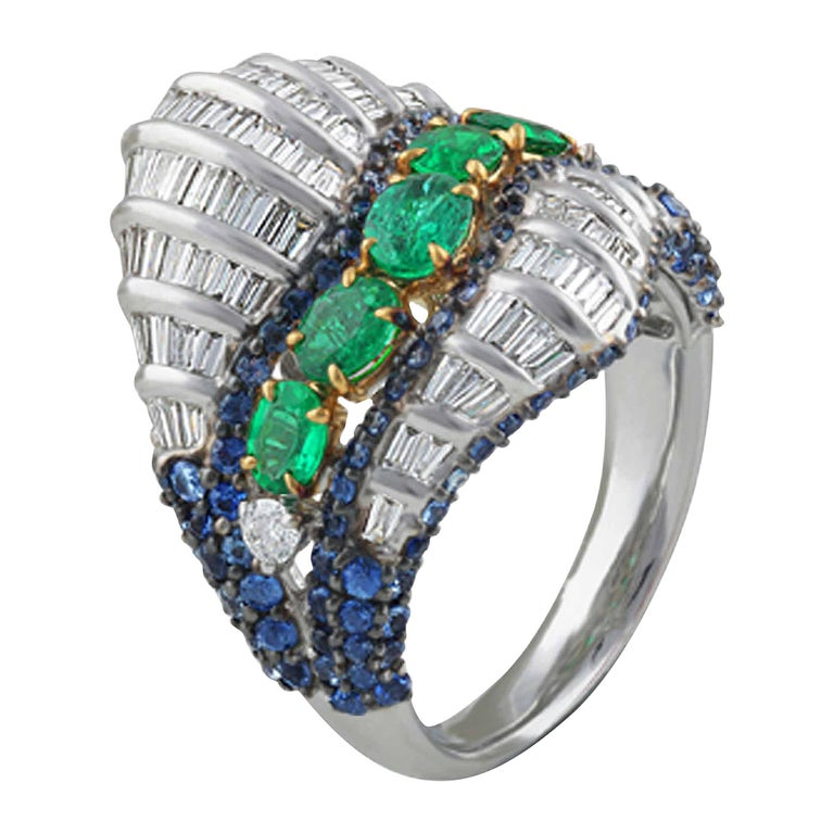 Studio Rêves Baguette Diamond with Emerald and Blue Sapphire Wave Cocktail Ring  For Sale
