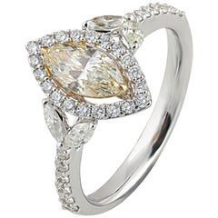 Studio Rêves 0.59 Carat Yellow Marquise Engagement Ring in 18 Karat Gold