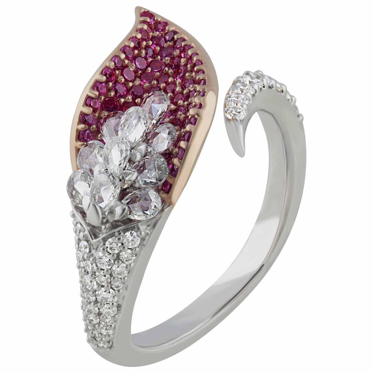 Studio Rêves Rose Cut Diamonds and Pink Sapphire Ring in 18 Karat Gold For Sale