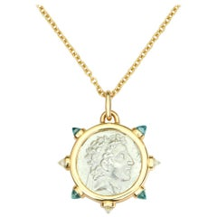 Dubini King of Cappadocia Silver Coin Pendant Topaz 18 Karat Gold Necklace