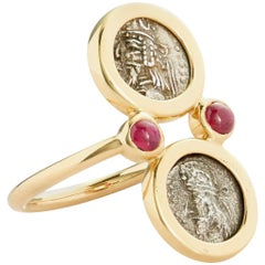 Dubini Kings of Persis Ancient Obol Silver Coin Ruby 18 Karat Yellow Gold Ring