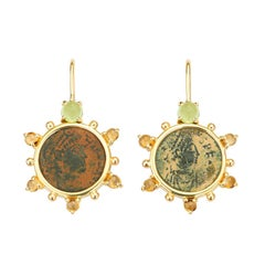 Dubini Constantine Roman Ancient Bronze Coin Peridot Citrine 18K Gold Earrings